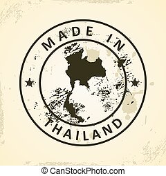 Stamp with map of Thailand