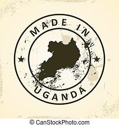Stamp with map of Uganda