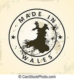 Stamp with map of Wales