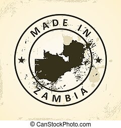 Stamp with map of Zambia