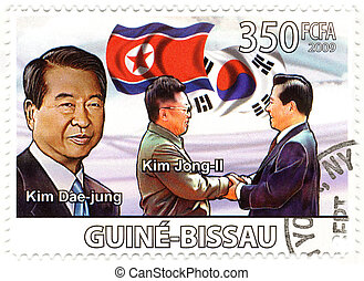 stamp with president of North Korea Kim Dae Jung and Kim ...