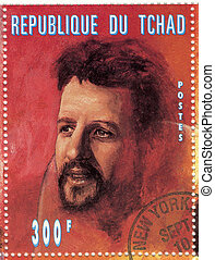 stamp with Ringo Starr from famous group The Beatles
