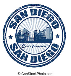 Grunge rubber stamp with the name of San Diego city from California state in the United States of America