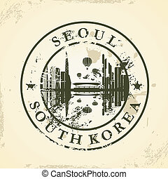 stamp with Seoul, South Korea - Grunge rubber stamp with...
