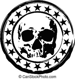 stamp with skull