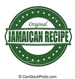 Jamaican recipe - Stamp with text Jamaican recipe inside,...