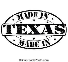 Stamp with text Made in Texas inside, vector illustration