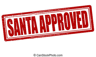 Stamp with text Santa approved inside, vector illustration