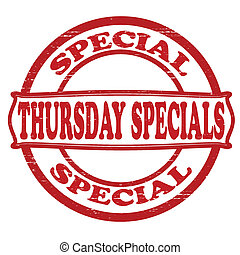 Thursday specials - Stamp with text Thursday specials...