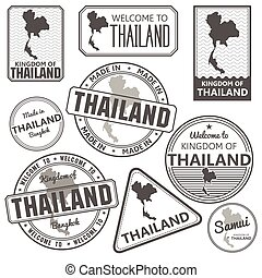 stamp with Thailand map made in phuket samui bangkok -...