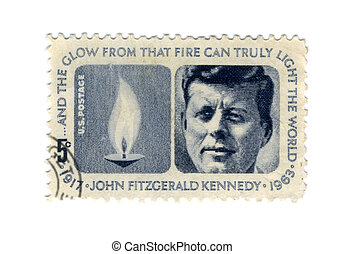 Stamp with the image of the president of USA John F Kennedy