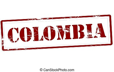 Colombia - Stamp with word Colombia inside, vector...