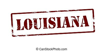 Stamp with word Louisiana inside, vector illustration