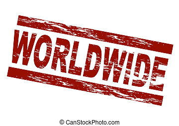 Stylized red stamp showing the term worldwide. All on white background.