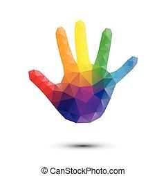 stampa, arcobaleno, mano