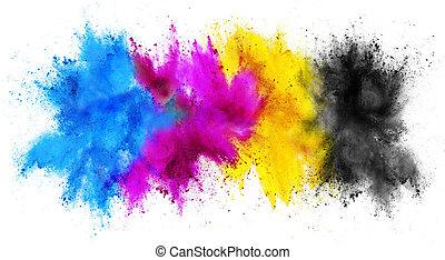 stampa, cmyk, chiave, cyan, magenta, esplosione, giallo, isolato, bianco, colorito, vernice, sfondo colore, holi, concetto, polvere