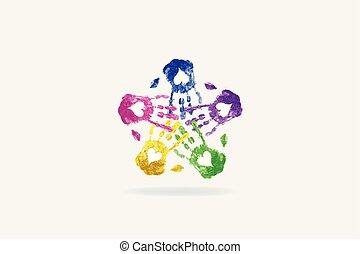 stampa, cuore, mani, amore, logotipo