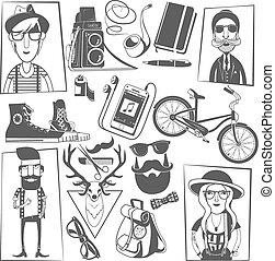 stampa, hipster, nero, composizione, icone