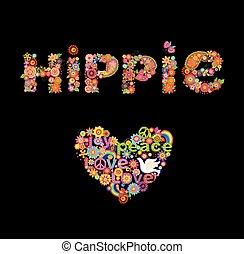 stampa, iscrizione, fiori, hippie
