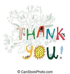 stampa, iscrizione, lei, fiori, ringraziare