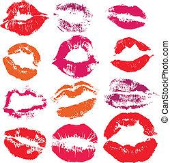 stampa, labbra, set, bacio
