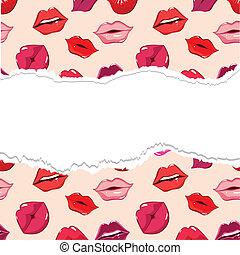 stampa, lips., strappato, seamless, modello