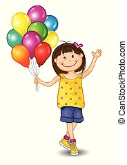 Stampa Little Girl With Balloons - Little Girl With Balloons...