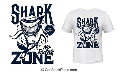 stampa, mascotte, squalo, animale, t-shirt