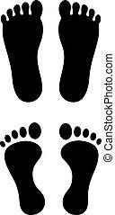 stampa piede, umano, icona