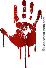 stampa, sanguinante, mano