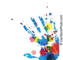stampa, splatter, mano, inchiostro