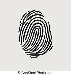 stampa, vettore, pollice, illustrazione, impronta digitale