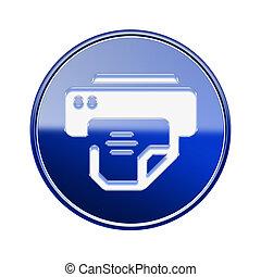 stampante, blu, isolato, lucido, fondo, bianco, icona