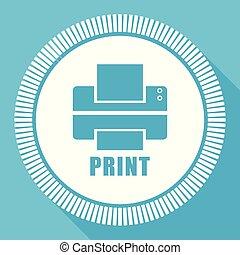 stampante, editable, appartamento, vettore, icona, quadrato, web, bottone, blu, computer, e, smartphone, domanda, segno, in, eps, 10