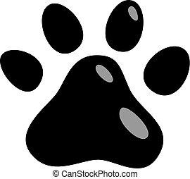 stampe, animali, zampa, isolato, illustrazione, gatto, vettore, sfondo nero, cuccioli, piede, gatti, icon., marchio, bianco