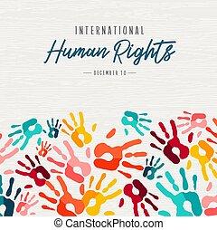 stampe, colorito, diritti, persone, mano, umano, scheda
