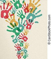 stampe, concetto, gruppo, colorito, mano, fondo