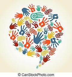 stampe, diversità, globale, mano, bolla discorso