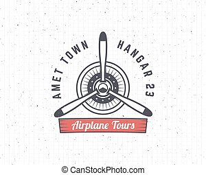 stampe, elements., logotype., disegno, aeroplano, emblem.,...