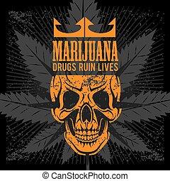 stampe, grunge, cranio, tshirts, marijuana, fondo., vettore