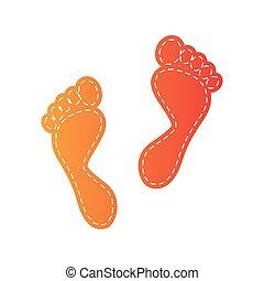 stampe, isolated., segno., piede, applique, arancia