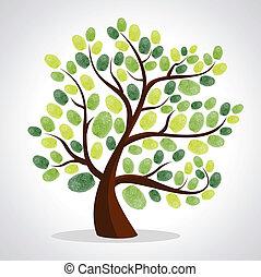 stampe, set, albero, dito, fondo