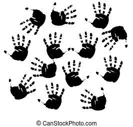 stampe, vettore, nero, hands.