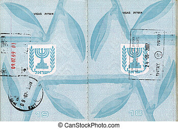Stamped Israeli Passport - Stamped pages 18-19 of an Israeli...