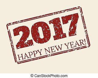 stamper, diseño, año, nuevo, 2017, feliz