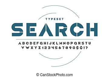 stampino, fantascienza, alfabeto, set., creativo, caratteri, futuristico