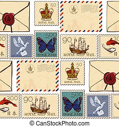 Stamps and envelopes seamless pattern