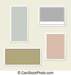 Blank cartoon stamp frames.