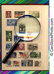 one page of USA stamps collection