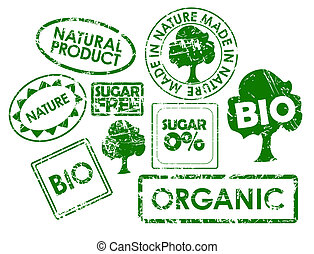 stamps for organic healthy food - Set of stamps for organic,...